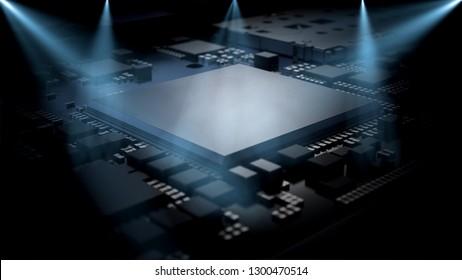 Smartphone processor. Chipset. 3D rendering