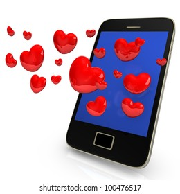 Smartphone with red hearts on the white background.