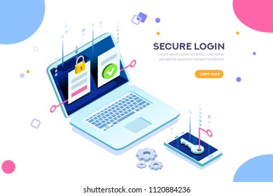 Smartphone safe certificate, two identity authentication concept. Verify permission request. Used for web banner or infographic images. Flat isometric illustration isolated on white background.