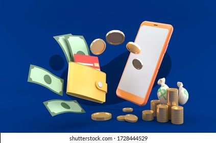 Smartphone sending money into wallet on the blue background.-3d rendering.