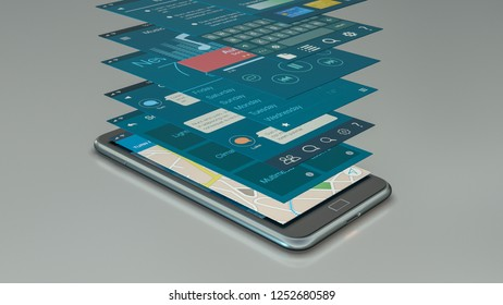 smartphone with a set of mobile app templates (3d render)