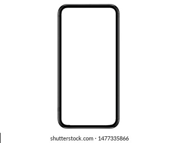 Smartphone similar to iphoneX xs max with blank white screen for Infographic Global Business and Smartphone Finance Marketing investment Plan, mockup model similar to iPhone x isolated illustration.