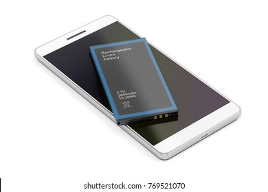 Smartphone with spare Lithium-ion battery on white background, 3D illustration