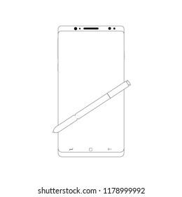 Smartphone With Stylus Pen White Big Screen Icon