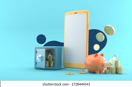 The smartphone is surrounded by money and safe on a  blue background.-3d rendering.