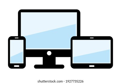 Smartphone tablet and screen. Icons set.