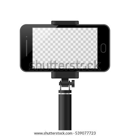 smartphone template empty screen monopod selfie stock illustration