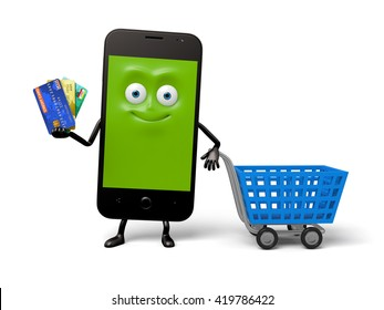 A smartphone went shopping with a credit card