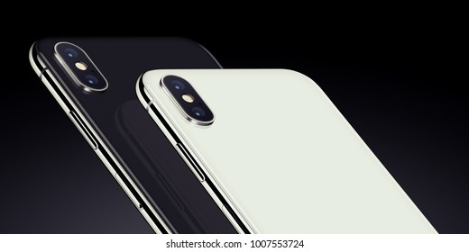 Smartphones back side perspective closeup. New modern black and white rotated perspective view smartphones back side with camera module on dark background. High-quality smartphone 3D illustration.