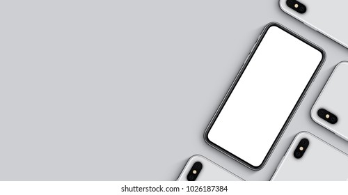 Smartphones mockup banner with copy space. Top view flat lay new frameless smartphone back side and front side. 3D illustration.