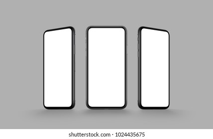 Smartphones multi screen mockup. Several front view smartphones with blank white screens on grey color background. 3D illustration.