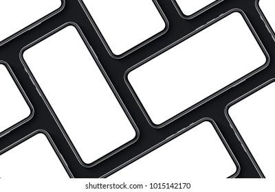 Smartphones top view flat lay multi screens mockup on black background. 3D illustration.