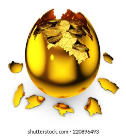 smashed golden egg with percent coins on white background