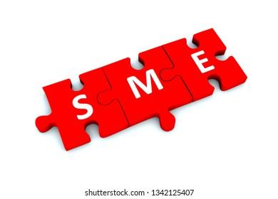 SME puzzle white background concept 3D illustration