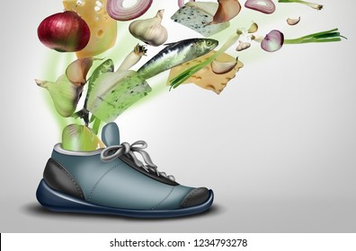 Smelly shoe as a dirty stinky sweaty sneaker or footwear with foot or smelly feet perspiration with 3D illustration elements.