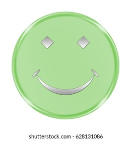 "smile button isolated. ""3d illustration"""