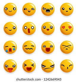 Smile Emoticon Icons Set Isolated Realistic Design  Illustration