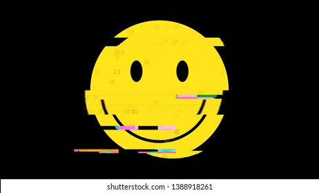 A smile icon representing a funny yellow happy smiling face, but with a heavy digital distortion glitch effect. Disquieting, unsettling symbol. Regular size.