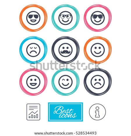 Smile Icons Happy Sad Wink Faces Stock Illustration 528534493