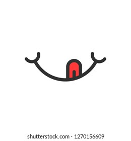 smile logo with tongue like yummy. concept of pleasure, satisfaction, sense, character, yum-yum, pleased. flat style trend modern logotype graphic design illustration on white background