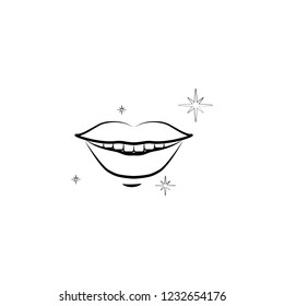 smile, tooth, lips icon. Element of dantist for mobile concept and web apps illustration. Hand drawn icon for website design and development, app development