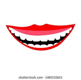 Smile with white teeth on white