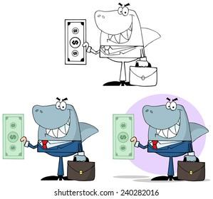 Smiled Business Shark Holding Cash. Raster Collection Set