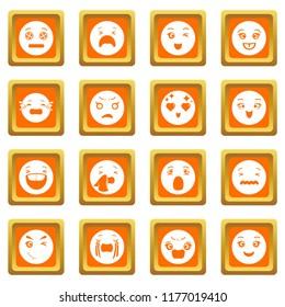Smiles icons set orange square isolated on white background