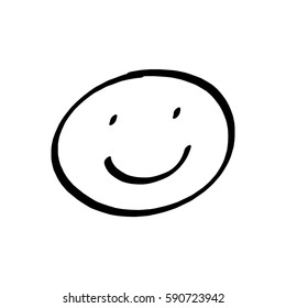 Smiley face drawing on white background