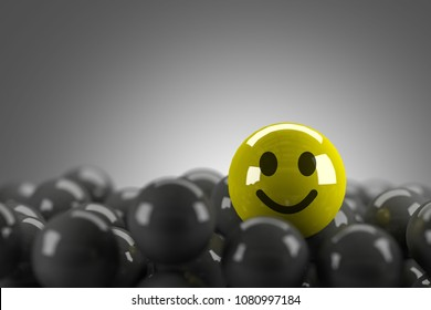 Smiley Face Standing Out in Crowd,3D rendering