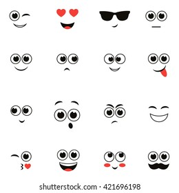 smiley faces isolated on white. Raster version
