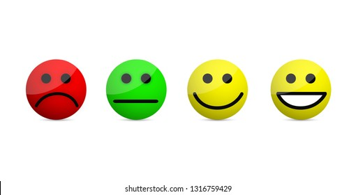smiley faces levels icons illustration isolated over a white background