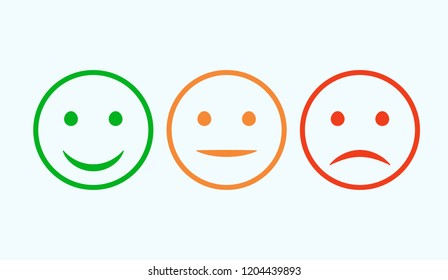 Smiley icon set. Emoticons positive, neutral and negative. isolated red and green mood. Rating smile for customer opinion.