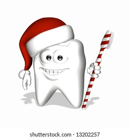 A smiley tooth wearing a Santa hat and holding a toothbrush colored like a candycane.
