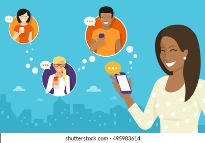 Smiling african woman holds the smartphone in her hand and sending messages to friends via messenger app. Flat illustration of instant texting and data sharing with friends via messenger mobile app