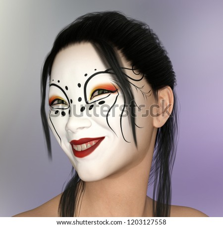 Smiling Asian woman with theatrical makeup Computer generated 3D illustration