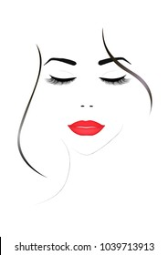 smiling beautiful woman face with closed eyes and red  lips, vertical  illustration