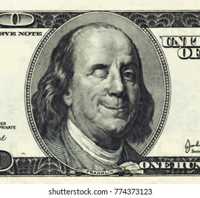 Smiling Ben Franklin with Wink. 3D rendering