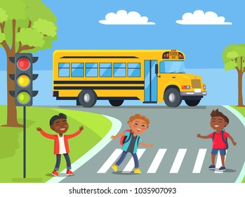 Smiling boys standing on pedestrian crossing near traffic lights with school bus approaching them from behind cartoon style  illustration