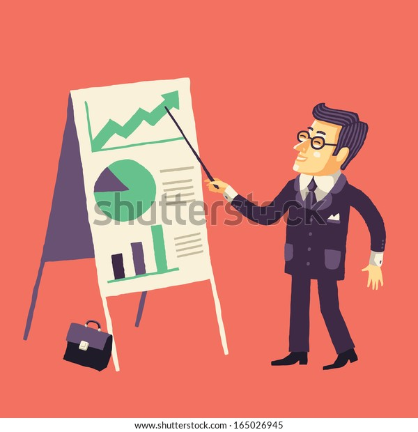 Smiling Businessman Giving a Projects Presentation (manager and presentation)