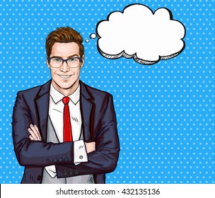 Smiling Businessman in glasses in comic style with thought bubble. Advertising poster of stock market broker with raised eyebrow