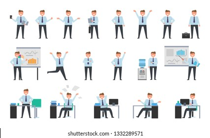 Smiling businessman working set of icons isolated on white. raster illustration of smartly-dressed grown-up man engaging in various activities at work