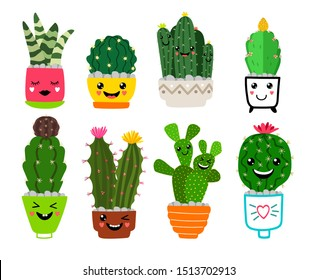 Smiling cacti. Funny cactus friends with flowers, cartoon cute desert plants in pots, happy cacti houseplant pots garden with smiles, iconsSmiling cacti in pots