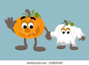Smiling cartoon adult pumpkin mascot with a child dressed as a ghost ready for trick or treating at halloween.