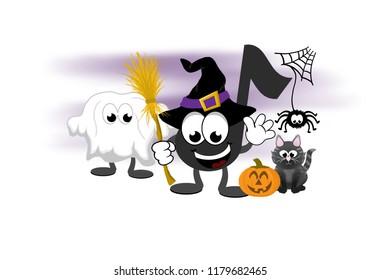 Smiling cartoon music note mascot with a child dressed as a ghost ready for trick or treating at halloween.