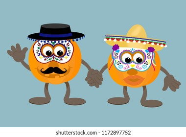 Smiling cartoon pumpkin mascots dressed in sombreros and Day of the Dead masks ready for halloween trick or treating or celebrating at a Dia de Muertos party.