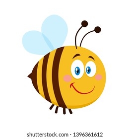 Smiling Cute Bee Cartoon Character. Raster Illustration Flat Isolated On Transparent Background