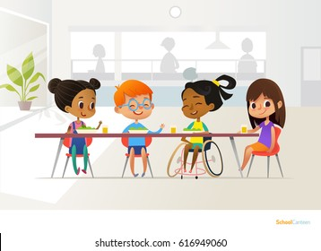 Smiling disabled girl sitting at table in school canteen and talking to her classmates. Children's friendship. Inclusive education concept. Illustration for banner, website, advertisement.