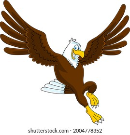 Smiling Eagle Cartoon Character Flying. Raster Hand Drawn Illustration Isolated On Transparent Background