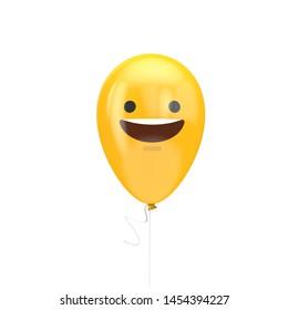Smiling face emoji floating balloon